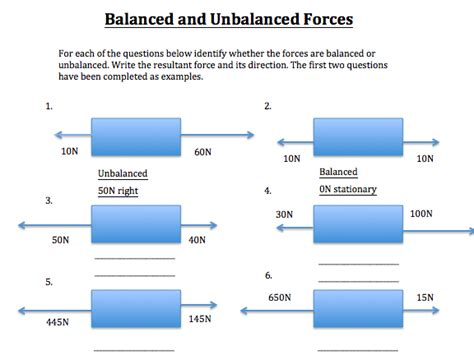 Balanced And Unbalanced Forces Worksheet Answer Key