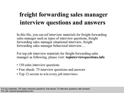freight forwarding sales manager questions and answers