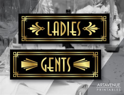Decorative Bathroom Signs Home by Art Deco Ladies And Gents Printable Signs Gatsby Wedding