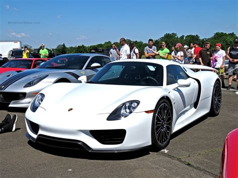electric porsche supercar white porsche 918 spyder at the cf charities supercar
