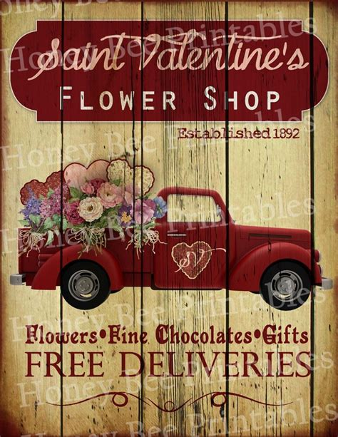 Saltbox Colonial by Primitive Valentine Flower Shop Old Red Truck Holiday Folk