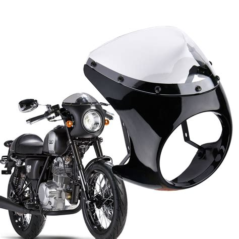 universal motorcycle 7 quot headlight cafe racer handlebar fairing clear windshield 732140143032 ebay