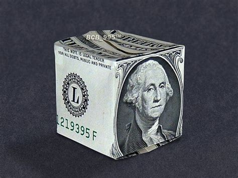 Origami One Dollar Bill - money origami cube dollar bill