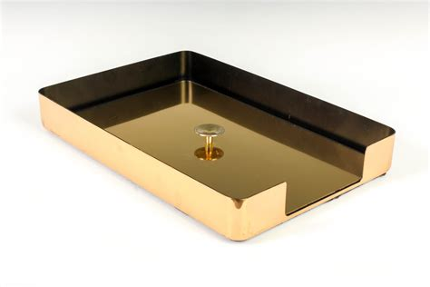 desk paper tray one vintage smokador brass paper tray w lid desk organizer