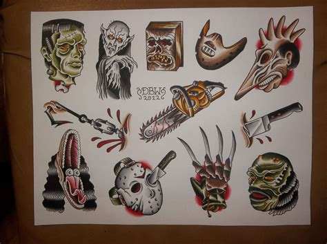 neo traditional tattoo flash horror traditional flash sheet 10 00 via etsy