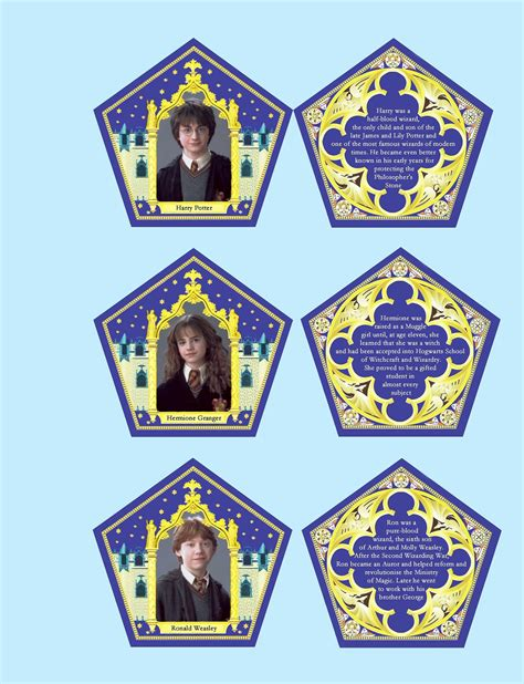 harry potter wizard card template chocolate box cards replica characters collectible cards