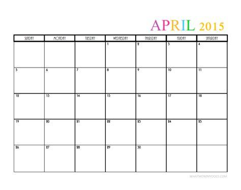 Calendar 2015 April Template 2015 Monthly Calendar Templates