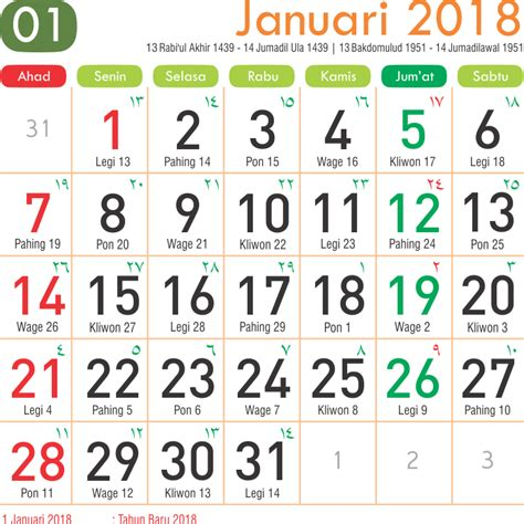 Kalender 2018 Bulan Februari Jawa Kalender Bulan Januari 2018 5 Printable 2018 Calendar