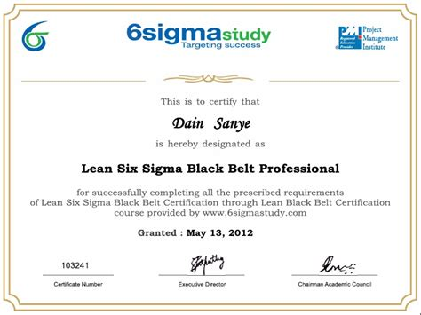 six sigma black belt certificate template lean six sigma black belt certificate dain sanye