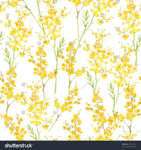 yellow watercolor pattern watercolor hand drawn seamless pattern spring stock vector
