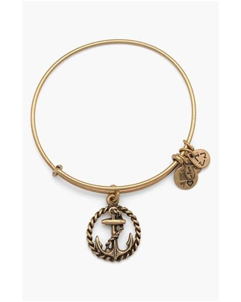 alex and ani bracelet alex and ani nautical bangle bracelet in gold lyst