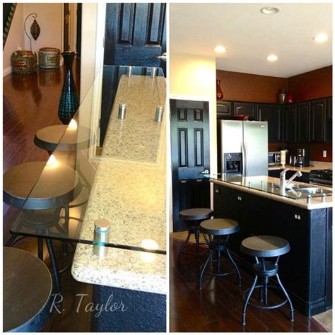 Added tempered glass to raise and extend kitchen island to