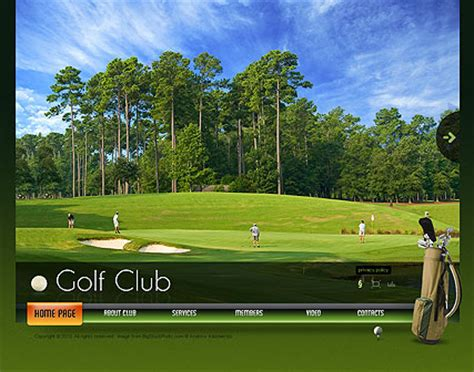 Golf Club Dynamic Video Gallery Flash Template Html5 Web Templates 300110912 Golf Website Template Free