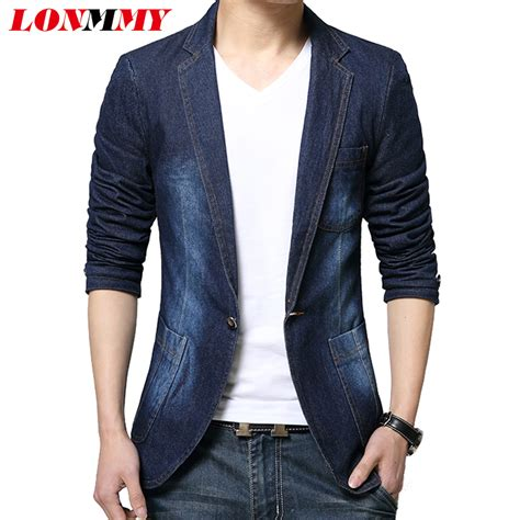 Blezer Denim lonmmy denim blazer blazer slim fit cowboy coats