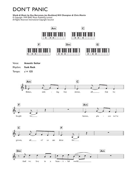 coldplay don t panic chords don t panic sheet music by coldplay keyboard 119050