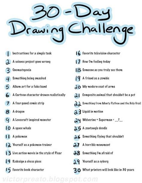 Drawing Ideas List by Victor Preato Iv 30 Day Drawing Challenge List