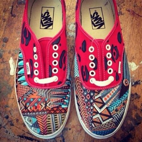 tribal pattern shoes shoes tribal pattern vans red blue wheretoget