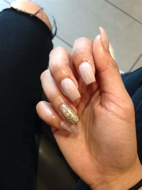 short coffin nails with american manicure short nail art pinkish nude short coffin nails gold glitter nails