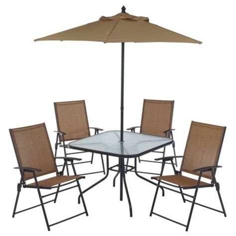 folding patio furniture set 6 outdoor folding patio set with table 4 chairs umbrella and built in base home