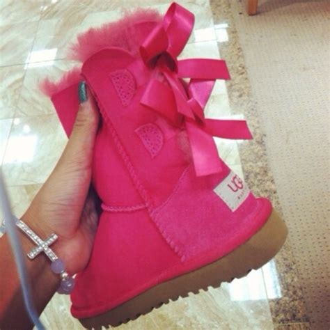 pink ugg boots with bows shoes ugg boots pink uggs sparkles bows ribbon