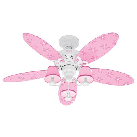 girls ceiling fan shop hunter 44 in dreamland white kids ceiling fan with light kit at lowes com