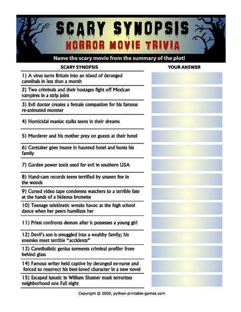 13 free horror movie trivia quizzes and games pin by christina thorne on halloweenie pinterest