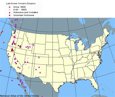 map of volcanoes in america emergency preparedness hazard maps