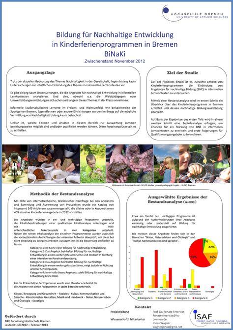 Hs Rm Stand Der Bewerbung Hochschule Bremen Bildung F 252 R Nachhaltige Entwicklung In Kinderferienprogrammen In Bremen