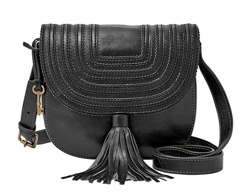 fossil emi tassel saddle bag black ebay