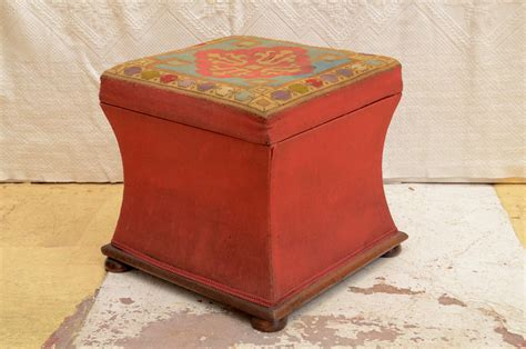 needlepoint ottoman english needlepoint concave sided ottoman for sale at 1stdibs