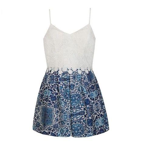 Dress White Tile Lace ally fashion boho tile print lace top playsuit 32 liked