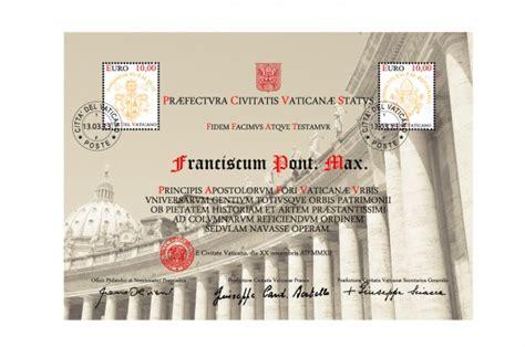 ufficio numismatico vaticano certificato filatelico per il restauro colonnato di