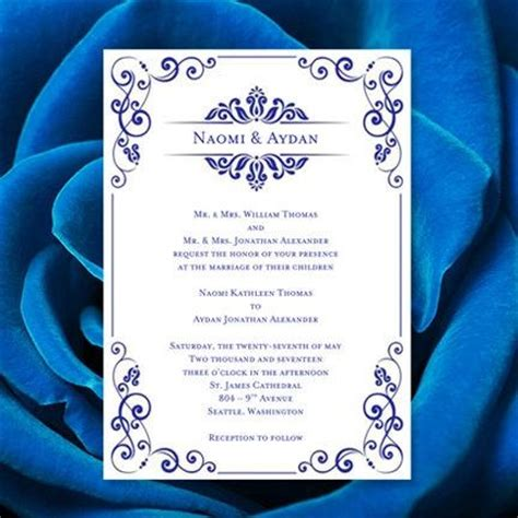 cool royal blue and silver wedding invitation templates