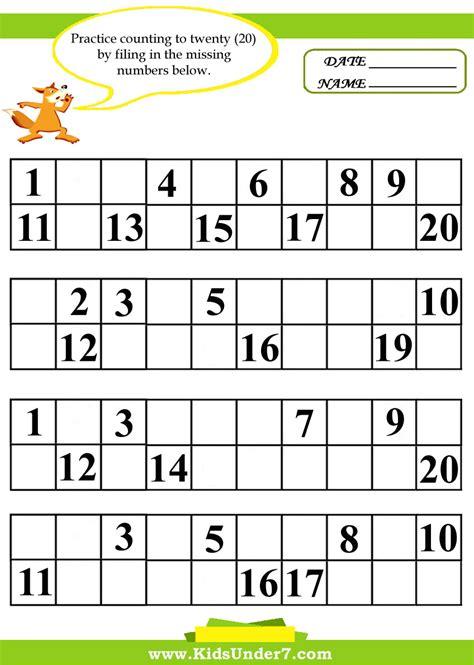 kindergarten activities with numbers kindergarten missing number worksheet 1 20 missing