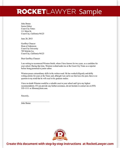 Recommendation Letter Template for Scholarship, Job
