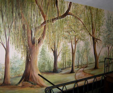 wall mural tree painted tree mural muralist debbie cerone wall murals