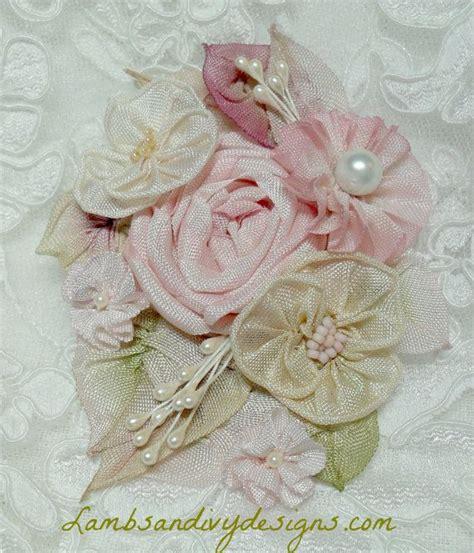 brooch french ribbonwork shabby chic romantic ribbon work reserved ribbon rose pinterest
