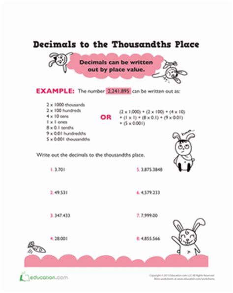 thousandth decimal place | worksheet | education.com