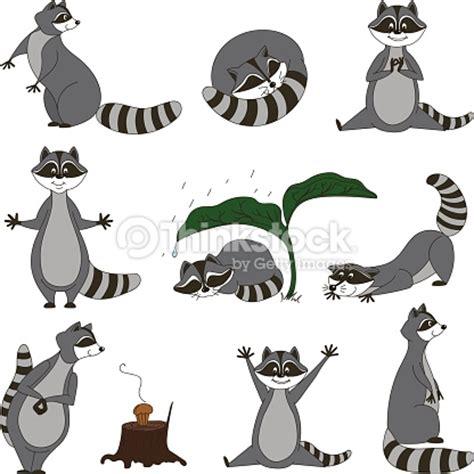 cartoon raccoon tattoo vektorgrafik black and white set cartoon raccoons