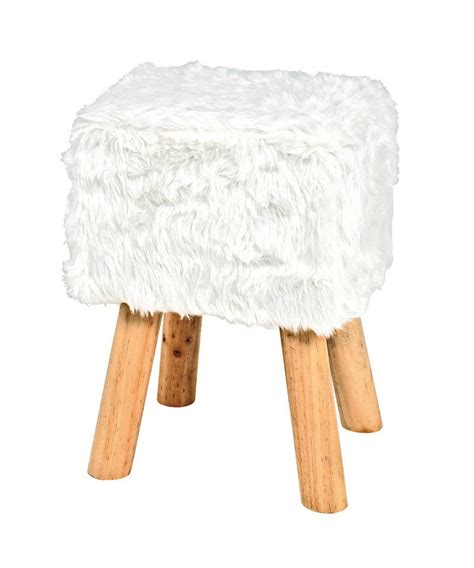 White Foot Stool by Retro Fluffy Black Foot Stool 30564