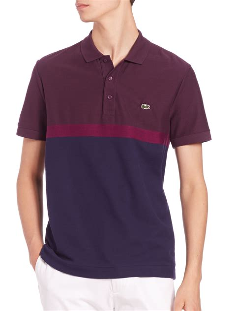 Polo Shirt Lacost Maroon Mix Black lacoste mixed stitch stripe polo shirt in blue for lyst