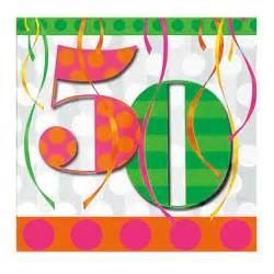 50th birthday colors 50th birthday napkins bright colors 50th birthday