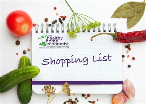 quality food shopping list