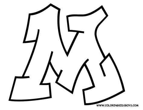 graffiti m free letter coloring pages