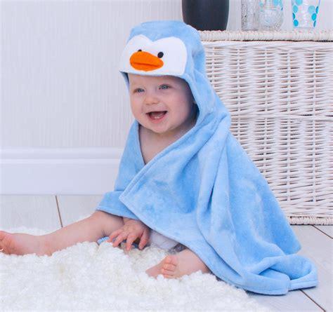 soft hooded penguin baby bath towel bathing bunnies