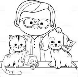 coloring pages veterinarian veterinarian and pets coloring book page stock vector