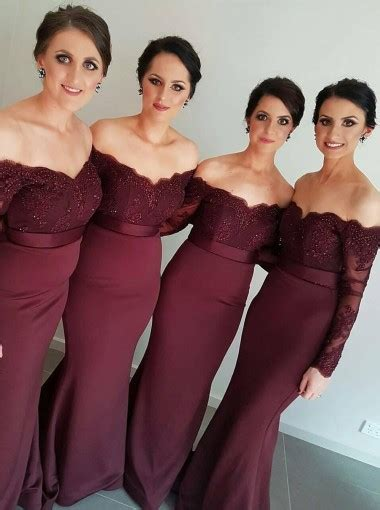 Melisa Gamis Trompey Maroon new arrival the shoulder maroon trumpet mermaid bridesmaid dress wedding dresses