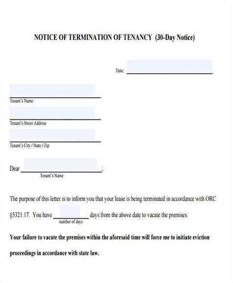 eviction notice sle eviction notice to tenant template
