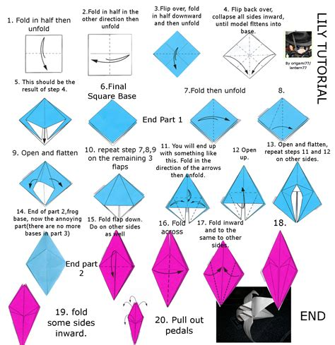 Origami Lilies - or iris origami tutorial by lantern77 on deviantart