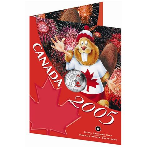 Coin Gift Card - 2005 canada day 25 cent coin gift card coloured